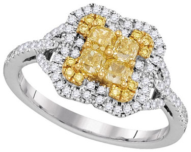Yellow Diamond Fashion Ring 18K White Gold 0.98 cts. GD-96973