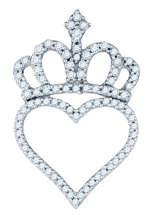 Diamond Crown Heart Pendant 10K White Gold 0.33 cts. GD-77029