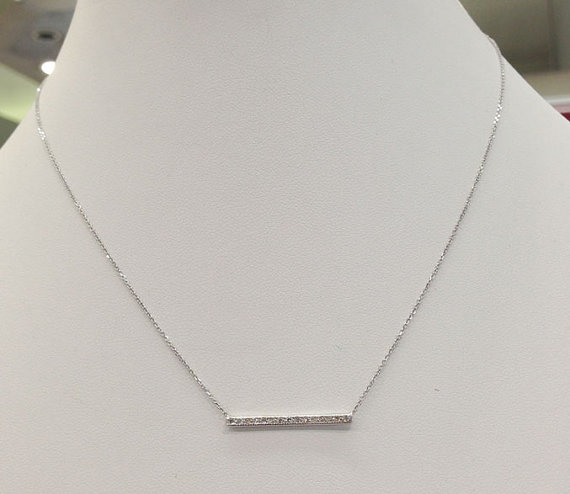 Diamond Bar Necklace 14K White Gold 0.15 cts. 6J7896