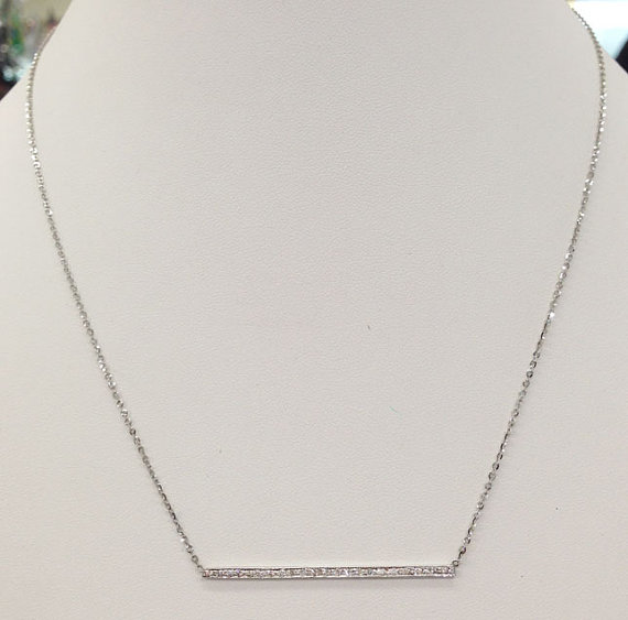 Diamond Bar Necklace 14K White Gold 0.30 cts. 6J7898