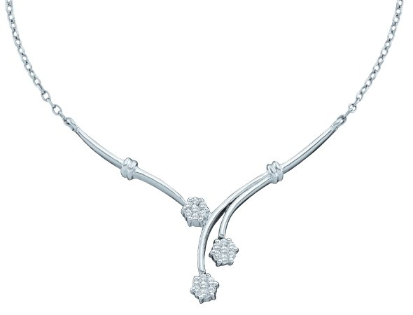 Diamond Necklace 14K White Gold 0.25 cts. GD-12078