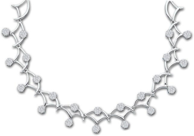 Diamond Necklace 14K White Gold 3.50 cts. GD-14276