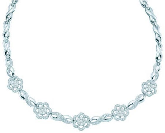 Diamond Necklace 14K White Gold 2.00 ct. GD-30098