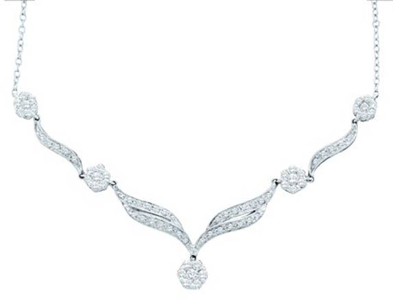 Diamond Necklace 14K White Gold 0.76 cts. GD-37795
