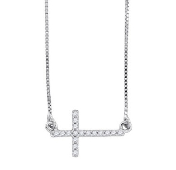 Sideways Diamond Cross Necklace 10K White Gold 0.10 cts GD-90665