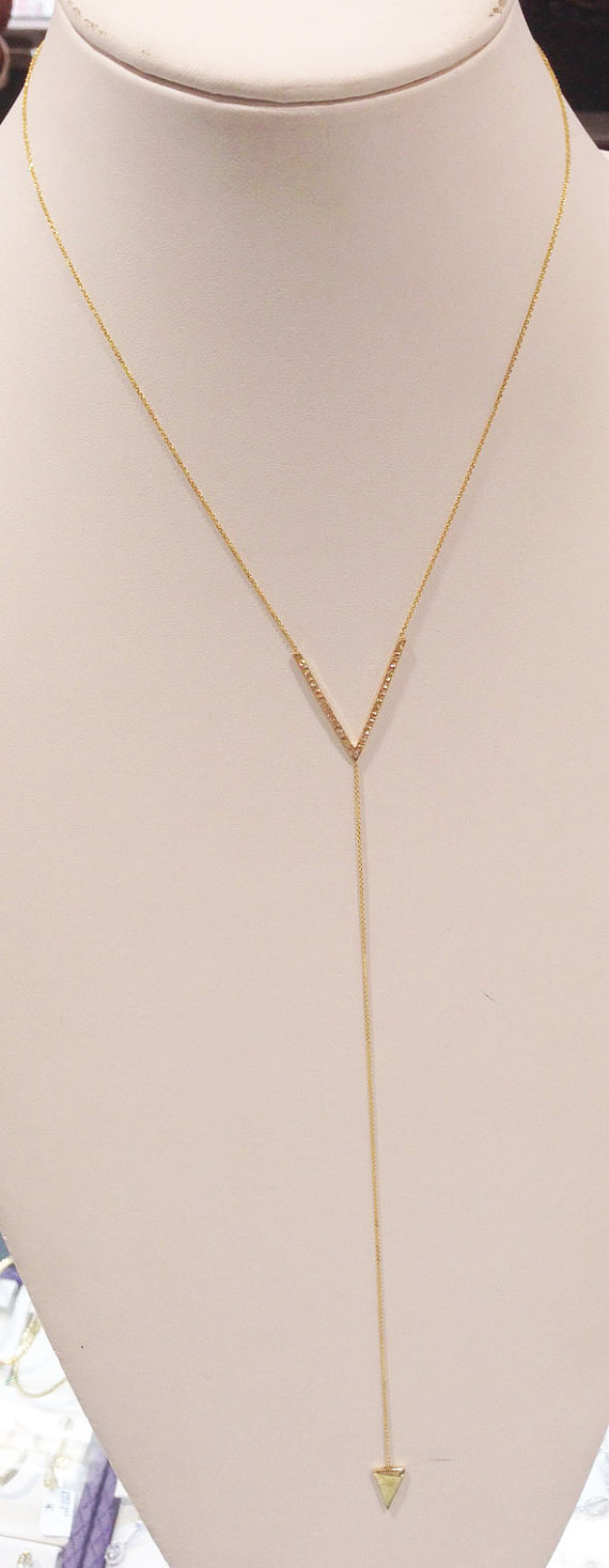 Diamond V-Design Drop Necklace 14K Yellow Gold 0.30 cts. 6J7801