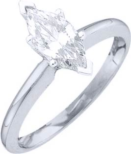 Diamond Solitaire Ring 14K White Gold 0.35 cts DSRM-035