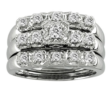 Ladies Three Piece Set 14K White Gold 0.65 cts. CL-21514