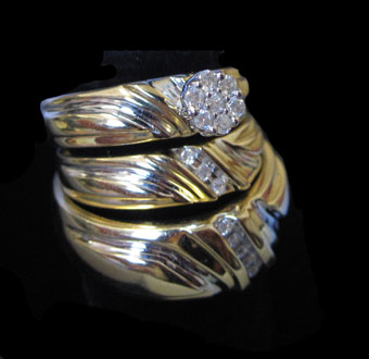 Three Piece Wedding Set 14K Two Tone Gold 0.25 cts. CL-38612
