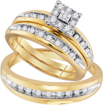 Three Piece Wedding Set 10K Yellow Gold 0.57 cts. GD-96727