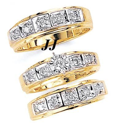 Three Piece Wedding Set 14K Two-Tone Gold 0.70 cts. JRX-11264