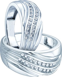 Two Piece Wedding Set 10K White Gold 0.30 cts. GD-39055