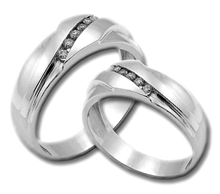 Two Piece Wedding Set 14K White Gold 0.35 cts. HHSD-211
