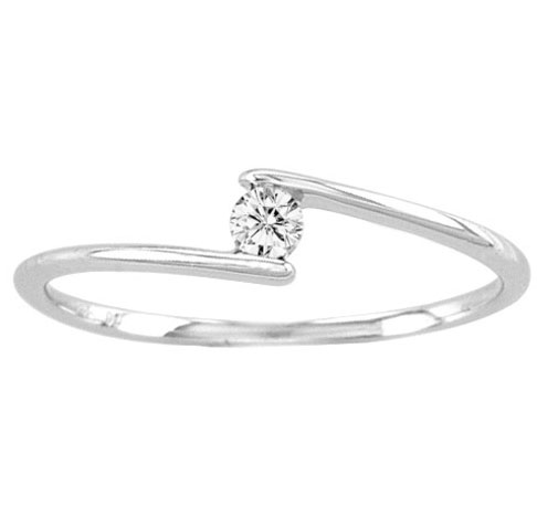 Ladies Diamond Promise Ring 14K White Gold 0.10 cts. CL-21954