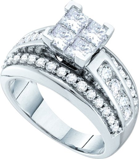 Ladies Diamond Engagement Ring 14K White Gold 2.00 ct. GD-52352