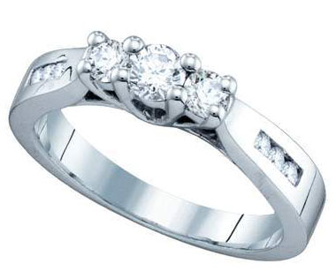 Ladies Diamond Engagement Ring 14K White Gold 0.35 cts. GD-70925