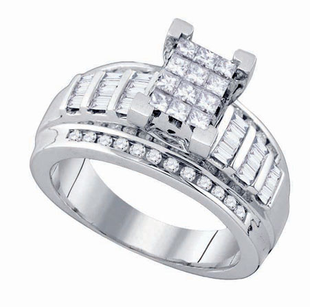 Diamond Invisible Engagement Ring 10K White Gold 0.90 cts. GD-78921