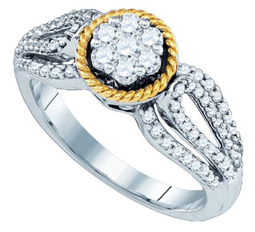 Diamond Engagement Ring 10K Two Tone Gold 0.62 cts. GD-79335