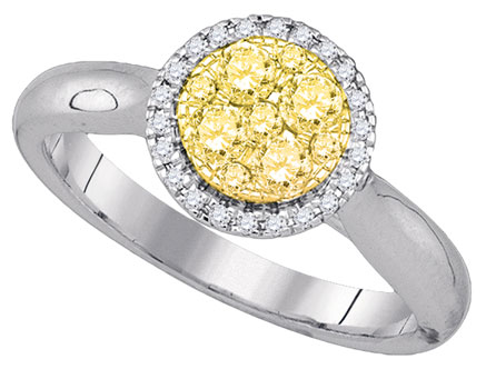 Yellow Diamond Engagement Ring 14K White Gold 0.46 cts. GD-87746