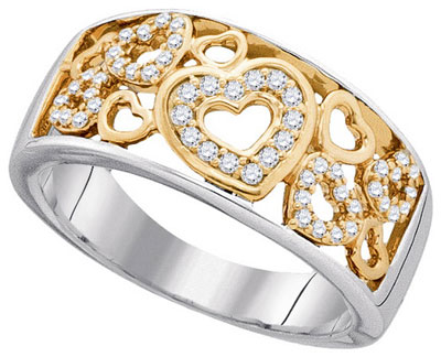 Diamond Fashion Hearts Band 14K Two Tone Gold 0.20 cts. GD-90919