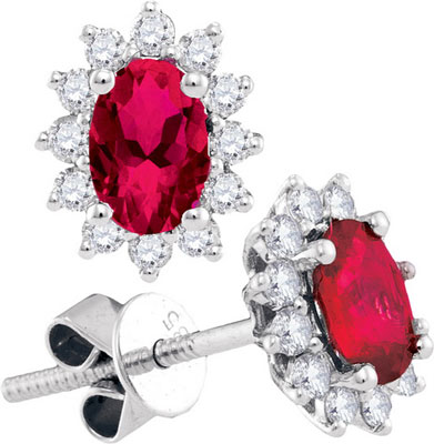 Diamond Ruby Earrings 14K White Gold 1.58 cts. GD-94712