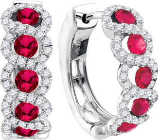Diamond Ruby Earrings 14K White Gold 2.02 cts. GD-94734