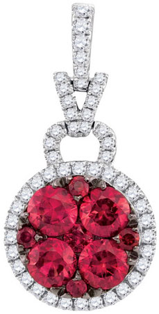 Diamond Ruby Fashion Pendant 14K White Gold 1.48 cts. GD-94743