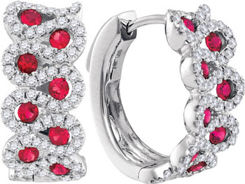 Diamond Ruby Earrings 14K White Gold 1.52 cts. GD-94755
