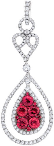 Diamond Ruby Fashion Pendant 14K White Gold 2.23 cts. GD-95435