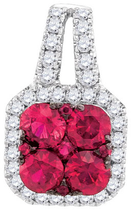 Diamond Ruby Fashion Pendant 14K White Gold 1.01 cts. GD-95446