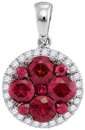 Diamond Ruby Fashion Pendant 14K White Gold 1.46 cts. GD-95452