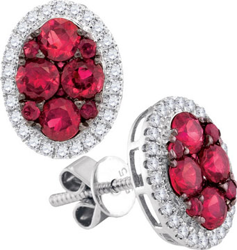 Diamond Ruby Earrings 14K White Gold 1.51 cts. GD-95460