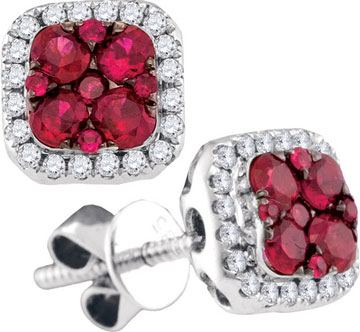 Diamond Ruby Earrings 14K White Gold 0.72 cts. GD-95468