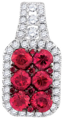Diamond Ruby Fashion Pendant 14K White Gold 1.28 cts. GD-95471