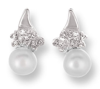 Pearl Diamond Earrings 14K White Gold 0.11 cts. CL-26000