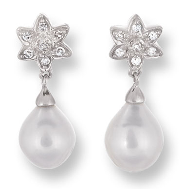 Pearl Diamond Earrings 14K White Gold 0.10 cts. CL-26003