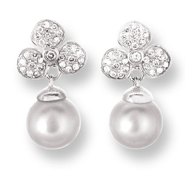 Pearl Diamond Earrings 14K White Gold 0.25 cts. CL-26009