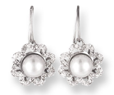 Pearl Diamond Earrings 14K White Gold 0.52 cts. CL-26011