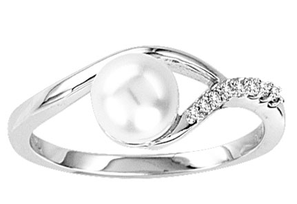 Pearl Diamond Ring 14K White Gold 0.05 cts. CL-26301