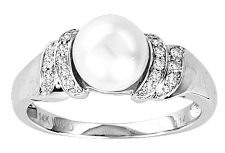 Pearl Diamond Ring 14K White Gold 0.13 cts. CL-27010