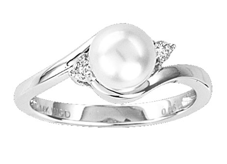 Pearl Diamond Ring 14K White Gold 0.07 cts. CL-27011