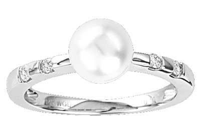 Pearl Diamond Ring 14K White Gold 0.10 cts. CL-27012