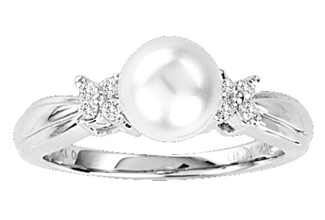 Pearl Diamond Ring 14K White Gold 0.11 cts. CL-27125