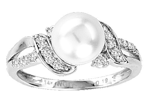 Pearl Diamond Ring 14K White Gold 0.18 cts. CL-27357