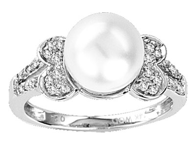 Pearl Diamond Ring 14K White Gold 0.18 cts. CL-27358