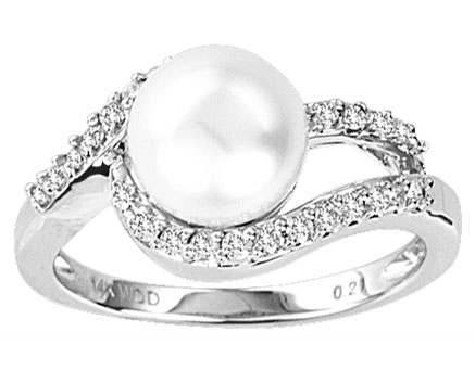 Pearl Diamond Ring 14K White Gold 0.20 cts. CL-28639