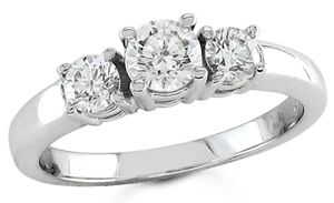 Three Stone Diamond Ring 14K White Gold 1.00 cts. S13-2