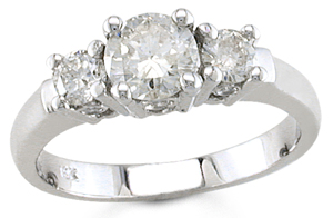 Three Stone Diamond Ring 14K White Gold 1.20 cts. TSD-3756