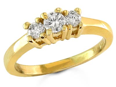 Three Stone Diamond Ring 14K Yellow Gold 0.40 cts. S13-4