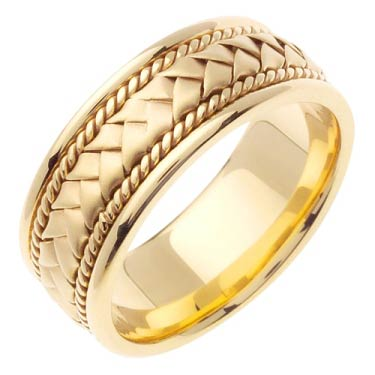 Yellow Gold Hand Braided Wedding Band 8mm YG-151